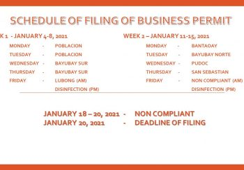 Schedule of Filing of Business Permit, CY 2021